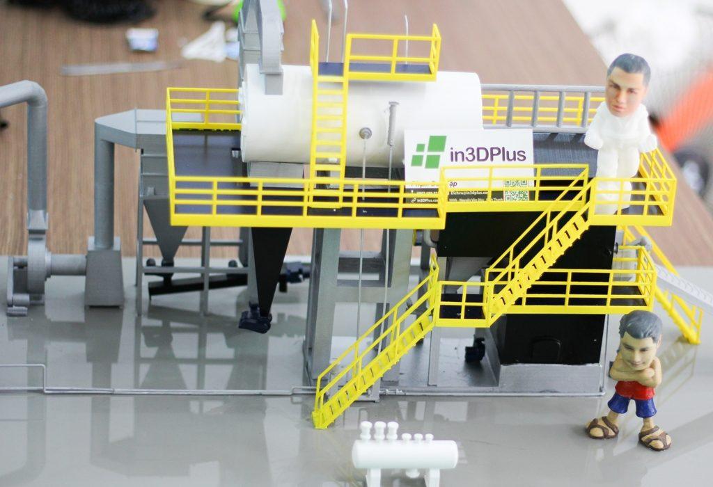 Mô hình nhà máy thu nhỏ, mô hình nhà xưởng 3D, mô hình in 3D lò hơi, mẫu sa bàn thu nhỏ, làm mẫu 3D demo