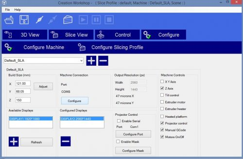 Configure slicing profile