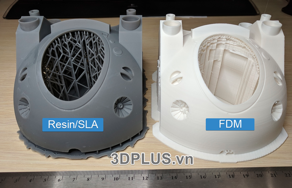 cong nghe in 3D FDM vs RESIN SLA