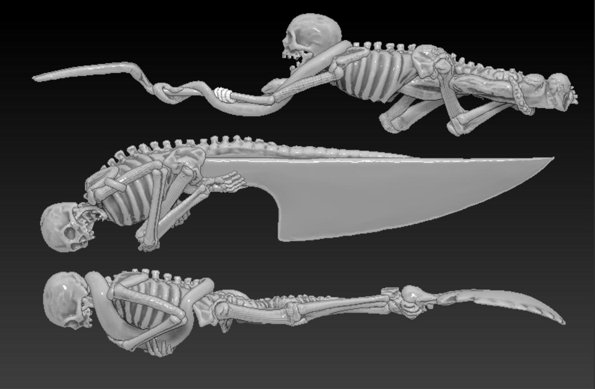Mẫu dao, thìa, nĩa hình bộ xương & rắn